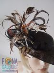 "Black Wavy Amherst Pheasant Feathered Side Sweeping Hatinator Hat - ""Cavallino"""